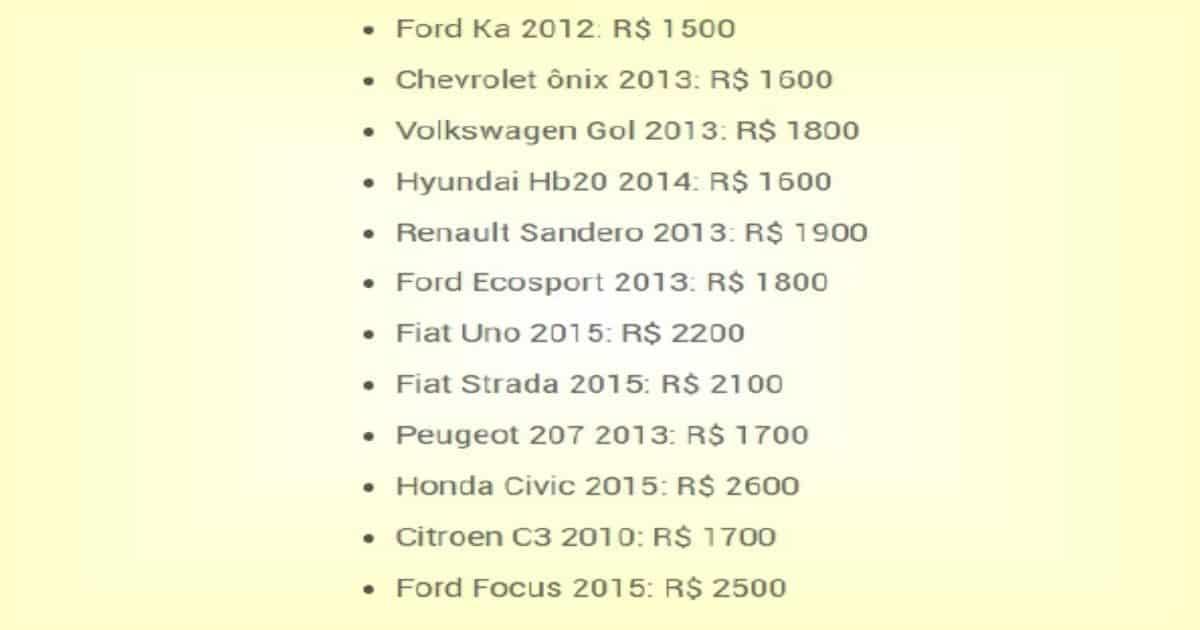 valor seguro carros tabela